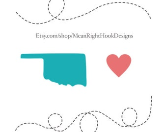 Oklahoma state SVG silhouette, heart, and dotted lines INSTANT DOWNLOAD vector files for cutting machines - svg, png, dxf, eps