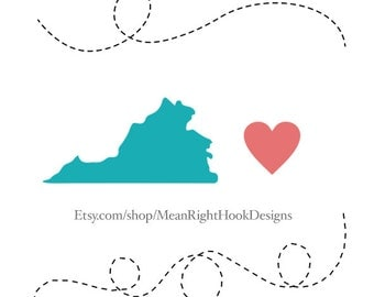 Virginia SVG, state svg, silhouette, heart svg, and dotted lines INSTANT DOWNLOAD vector files for cutting machines - svg, png, dxf, eps