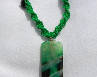 Green Stone hemp Necklace
