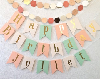 REGULAR SIZED Happy Birthday Banner - Gold Foil Birthday Banner- Peach Mint Ivory shown - other colors are available