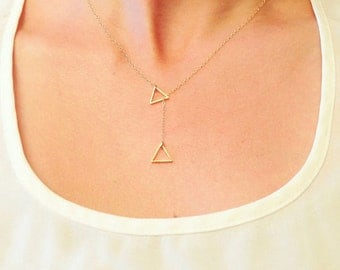 Gold necklace with two triangles for woman