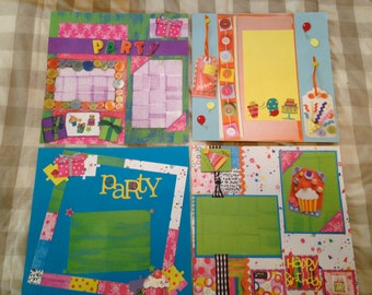 Birthday pre-made scrapbook pages
