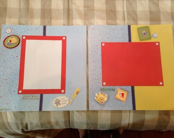 Baby boy pre-made scrapbook pages