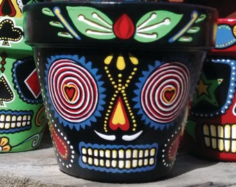 The Love Doctor - Hand Painted Terracotta Sugar Skull Plant Pot