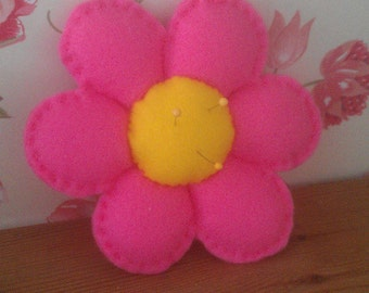 Felt flower pincushion complete with 3 pins.