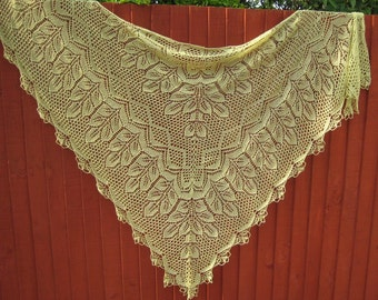 Handmade knitted triangular shawl. Made to order.