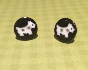 Scotty Dog Button Stud Earrings - Dog Earrings - Westie Earrings - Button Earrings - Animal Earrings