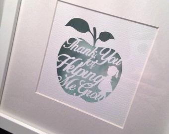 Personalised Teacher Gift, Papercut or Print