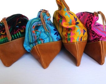 Mexican Fabric & Leather Aztec Clutch