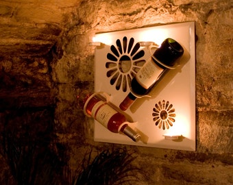 Daisy Wall Mountable Wine Rack with Inbuilt Tea Light Holders