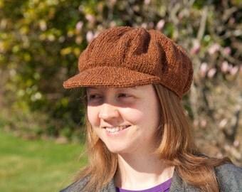 Pattern: Knitted baker boy hat with peak
