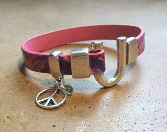 Flower Power Peace Sign Charm Leather Bracelet