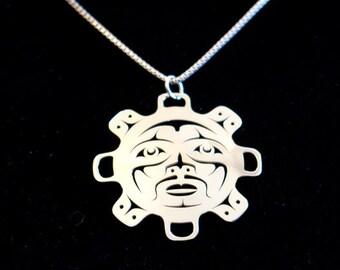 Sun pendant - Northwest Coast Sterling Silver
