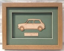 Classic Car Mini Cooper - Fine art Laser Etched Laser Cut Wall Art