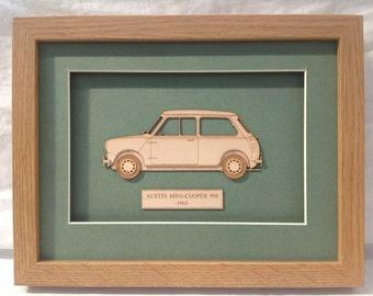 Classic Car Mini Cooper - Fine art Laser Cut Gift