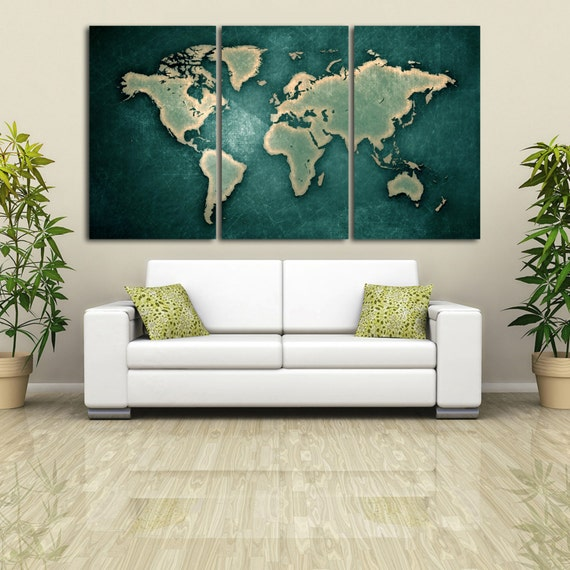 3 Panel Split Art World Map Canvas Print Triptych For: 3 Panel Split Art World Map Canvas Print 1.5 Deep