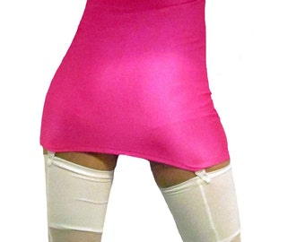 High waisted spandex pull on mini suspender skirt white / neon pink