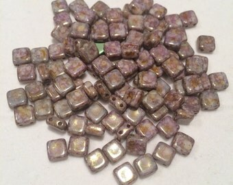2-Hole Square Beads, 6x6mm, Alabaster Lila Gold Luster, 02010-15695, 50 Beads, Czech Glass