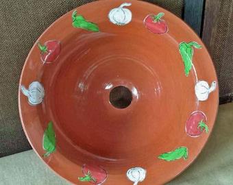 red terracota veggie vessel sink