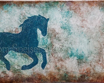 PERSONALIZE ME!** Horse / Equine Original Textured Painting Mixed Media Oil Acrylic Pastel Pigments Painting 7x14 inches Inspirational