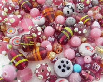 1 Pound vintage style supper delux handmade light pink colour LAMPWORK glass beads mix ONE POUND.