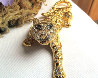 Vintage 1991 Trifari Pave Rhinestone Tiger Pin or Brooch