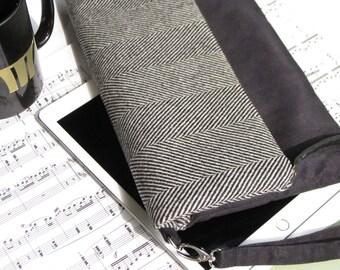 BLACK WOOL foldover clutch wristlet, large, black suede fabric, magnet