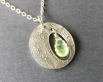 Lime Fern, Prehnite, Fine Silver, Sterling Silver, Charm Necklace, erinelizabeth