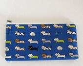 Flat  zipper pouch  - Cat in blue