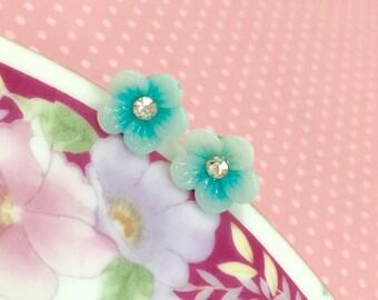 Turquoise Daisy Studs, Rhinestone Flower Earrings, Tiny Flower Earrings, Stainless Steel Studs, Glitter Daisy Studs (LB3)
