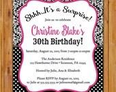 Black White Surprise Birthday Party Invitation Damask Polka Dots Pink 21st 30th Milestone Adult Birthday 5x7 Digital JPG Printable (485)