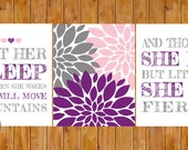 Instant Download Let Her Sleep For When She Wakes And Though She Be But Little She is Fierce Wall Art Purple Grey 8x10 JPG files (206)