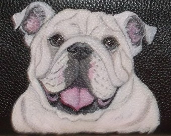 English Bulldog Custom Painted Leather Women's Wallet