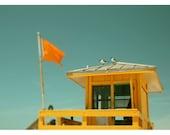 Fine Art Photograph - Beach Photography - Nature Photography - Yellow Flag 1 - Florida Art - Lifeguard - Blue Sky - Summer- Fine Art Photo