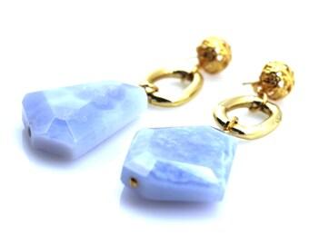 Blue Chalcedony Earrings, Blue Chalcedony Jewelry, Blue Statement Earrings, Gem Statement Earrings, Blue Gemstone Earrings, Blue Chalcedony