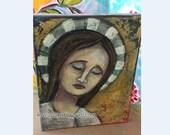 Madonna Santos Saint Mixed Media virgin with halo Canvas painting  AcrylicsTexture Original Art