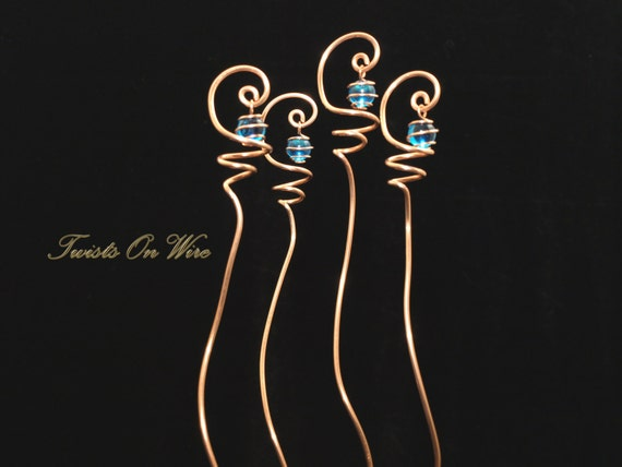 4 Solid Copper and Blue Glass Suncatcher Plant Stakes Handcrafted Sun Catcher Metalwork Home Decor