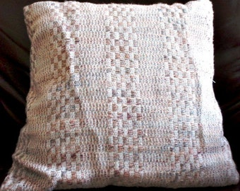 multicolored Handwoven Pillow - handwoven throw pillow - linen - pastels - hand woven square pillow -