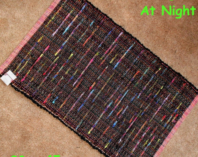 Handwoven Rug --- Neon Lights at Night ---  28x45