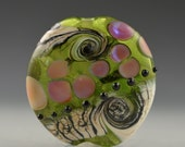 Garden Tea Party Handmade Lampwork Glass Lentil Focal by Pam Brisse aka The Blue Between