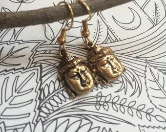 Handmade Golden Buddha Earrings