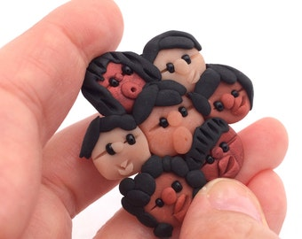 Cute Children of the World Polymer Clay Brooch - Multicultural Teacher Appreciation or Mothers Day Gift  - Handmade Jewelry