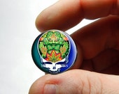 Glass Cabochon - Grateful Dead Steal Face Head Design 4  - for Jewelry and Pendant Making
