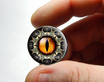 Glass Eyes - Orange Designer Dragon Eyeball Cabochon for Pendant Earring Ring Blanks - Pair or Single - You Choose Size