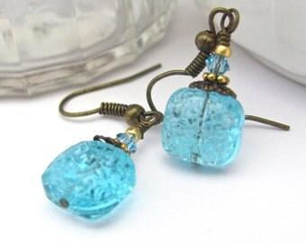 Aqua Blue Earrings, Swarovski Crystal Earrings, Petite Dangle Earrings, Victorian Abbey, Dainty, Boho Wedding, Bridesmaid Earrings, Wedding