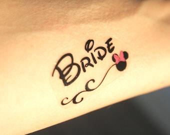 Disney Theme Team Bride Bachelorette Temporary Tattoos, bachelorette tattoos