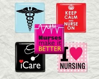 Nursing Magnet Set - Nurses -   Glass Tile Magnet Set