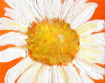 Shasta Daisy mini painting on Orange, original mini canvas art, easel, daisies paintings, small floral art, acrylic painting canvas art