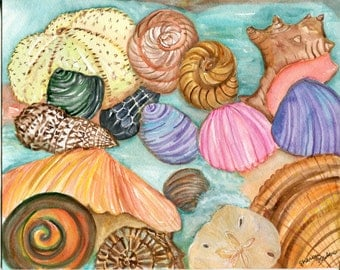 Shells Watercolor painting original, Seashells Painting, 8 x 10  Original watercolor painting of seashells, beach decor, cottage decor art