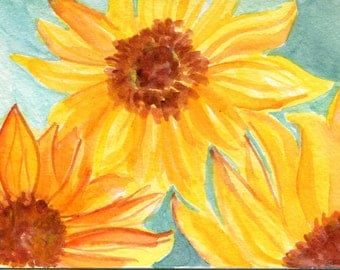 Sunflowers Watercolor Painting Original, sunflowers on aqua,  4 x 6, flowers watercolor, small floral art